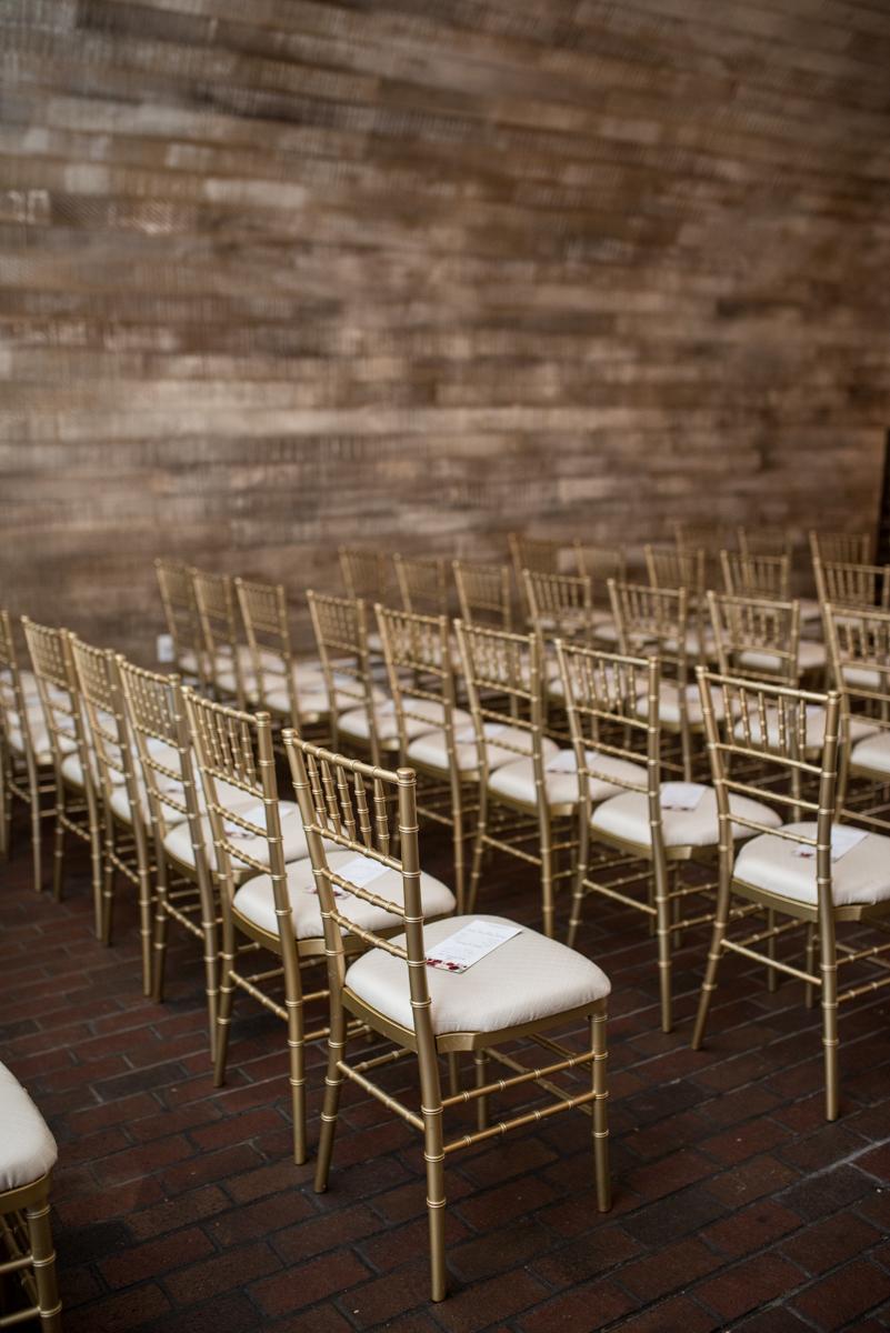 Gold and Burgundy Winter Winery Wedding | Gold Chiavari Chair Wedding Ceremony