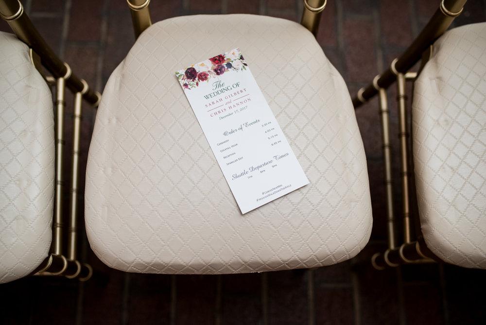 Gold and Burgundy Winter Winery Wedding | Burgundy and White Wedding Program
