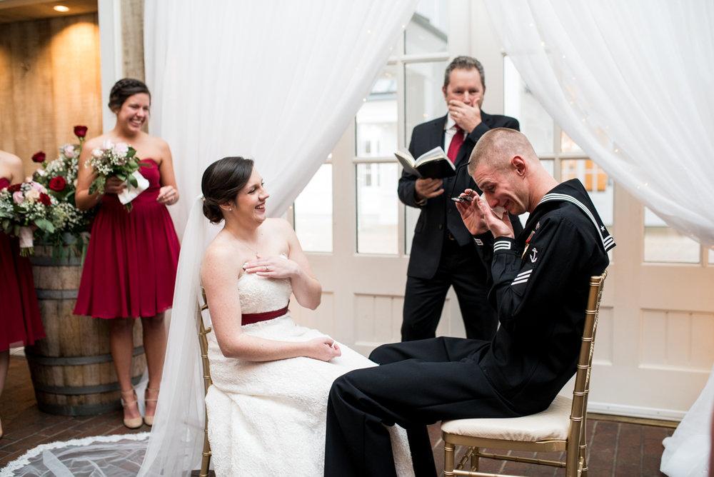 Gold and Burgundy Winter Winery Wedding | Wedding Ceremony