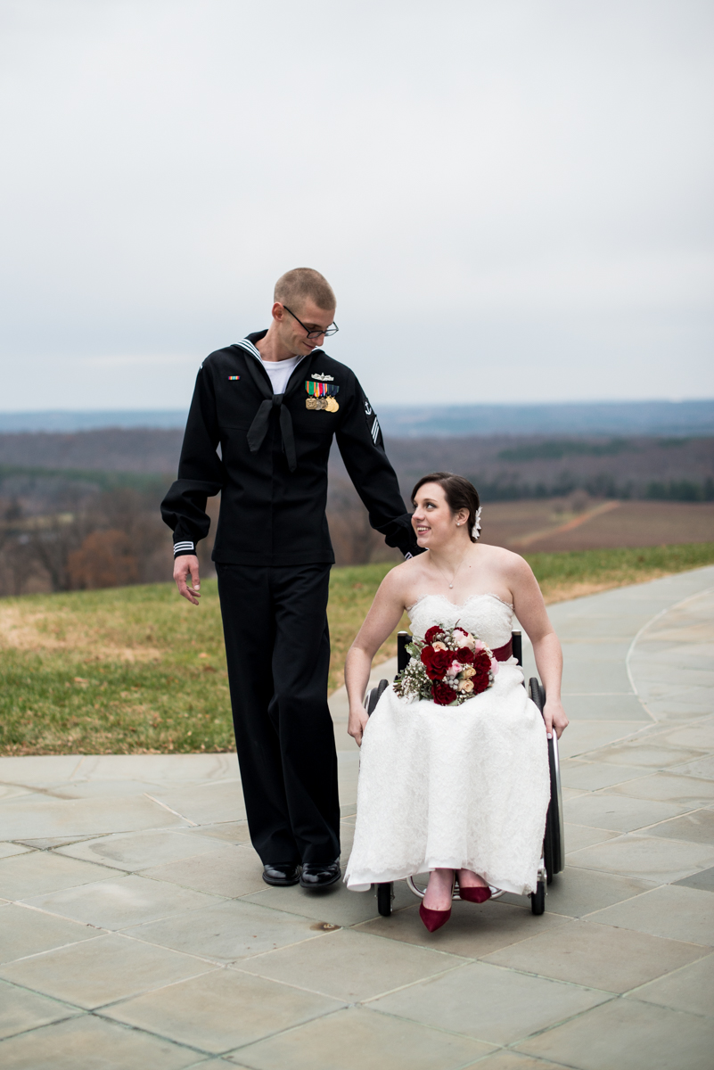 Gold and Burgundy Winter Winery Wedding | Bride and Groom Portraits in Wheelchair
