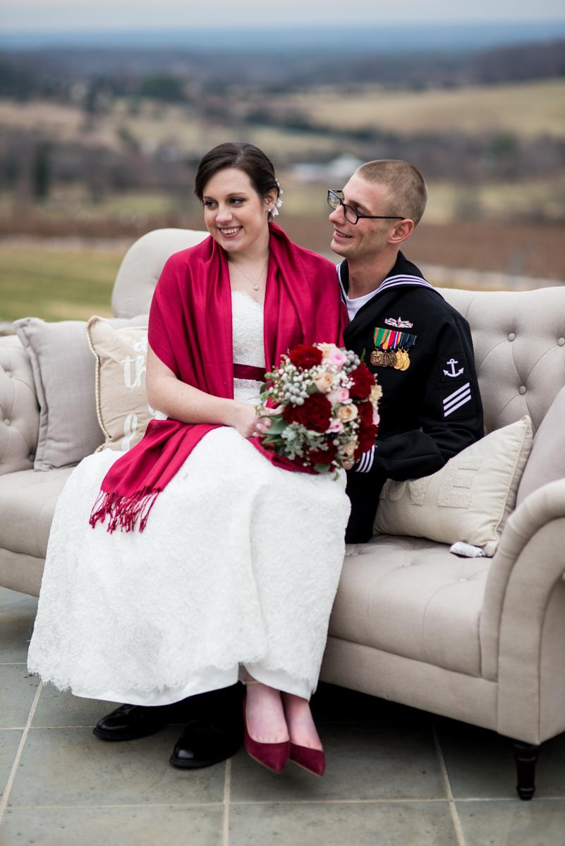 Gold and Burgundy Winter Winery Wedding | Bride and Groom Portraits in US Navy Uniform