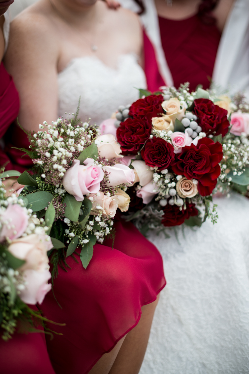 Gold and Burgundy Winter Winery Wedding | Burgundy and White Wedding Bouquets