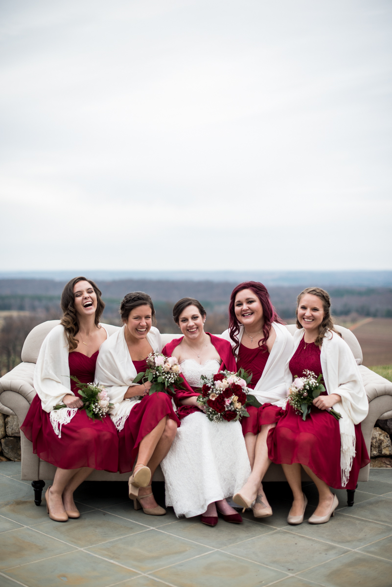 Gold and Burgundy Winter Winery Wedding | Burgundy and White Bridal Party
