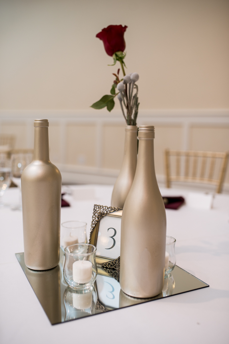 Gold and Burgundy Winter Winery Wedding | Gold and Burgundy Wedding Reception Centerpiece