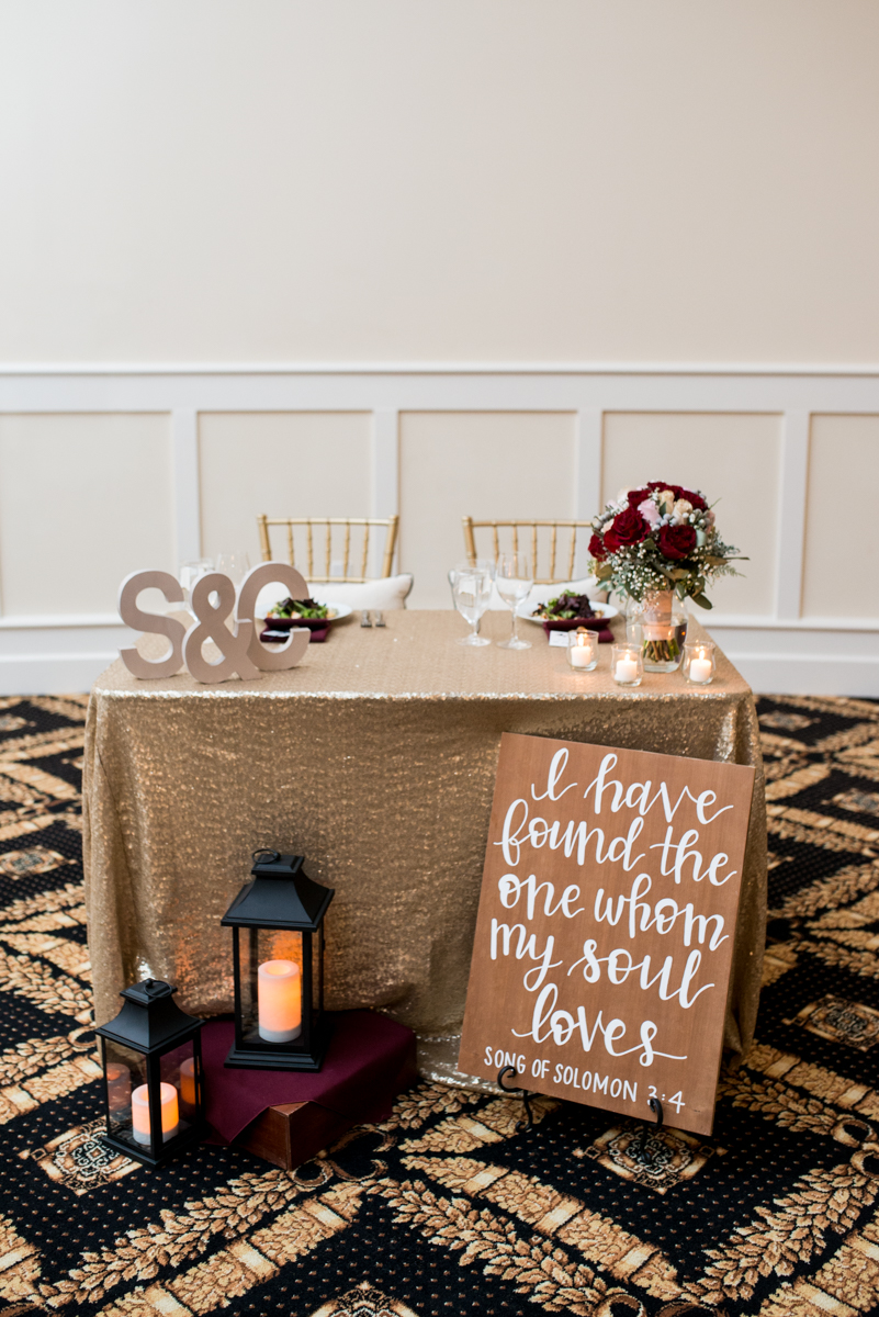 Gold and Burgundy Winter Winery Wedding | Gold and Burgundy Wedding Reception