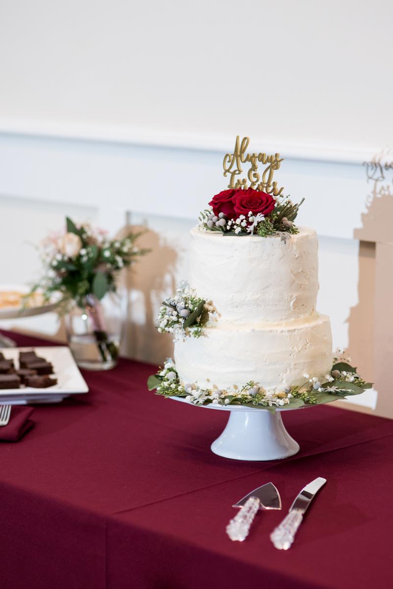 Gold and Burgundy Winter Winery Wedding | Burgundy and White wedding Cake