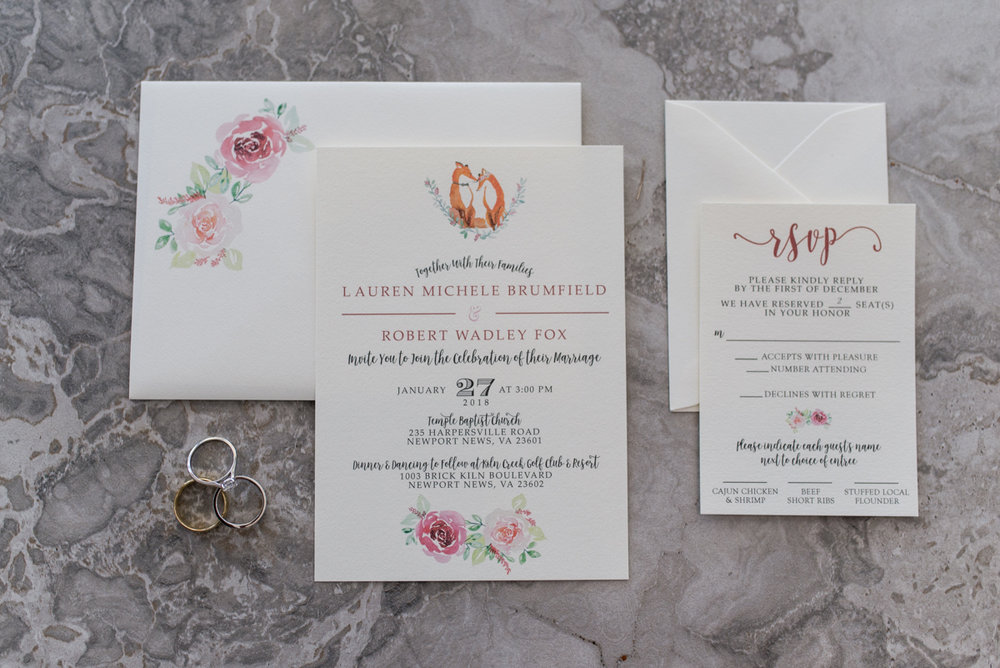 Burgundy and Blush Winter Wedding | Custom Floral Wedding Invitations