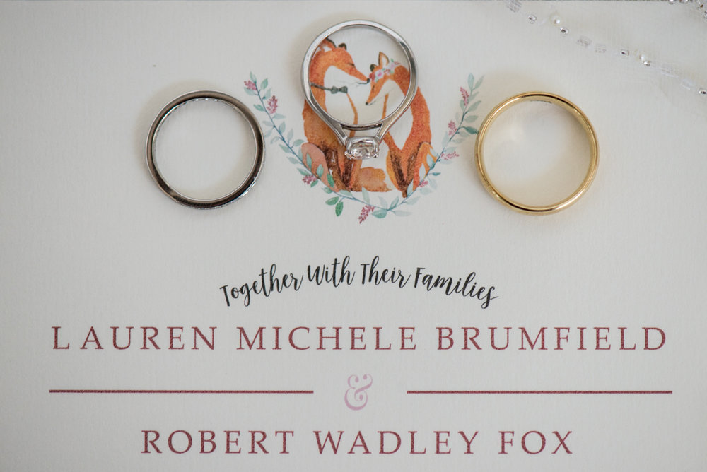 Burgundy and Blush Winter Wedding | Fox Invitation Ring Shot