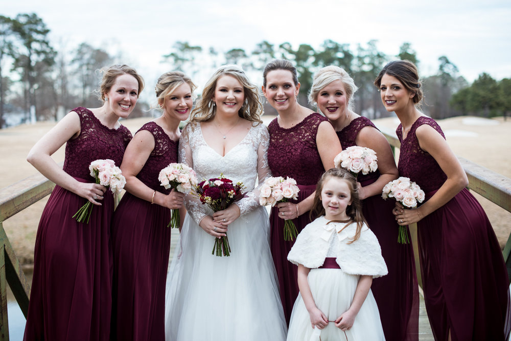 Burgundy and Blush Winter Wedding | Burgundy Bridesmaid Dresses