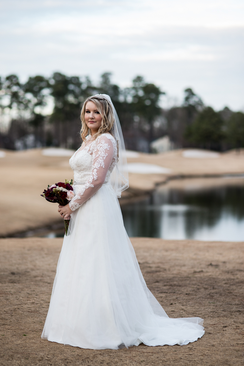 Burgundy and Blush Winter Wedding | Bridal portrait