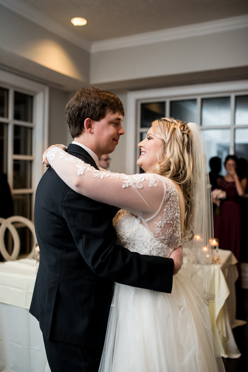 Burgundy and Blush Winter Wedding | Bride and groom first dance