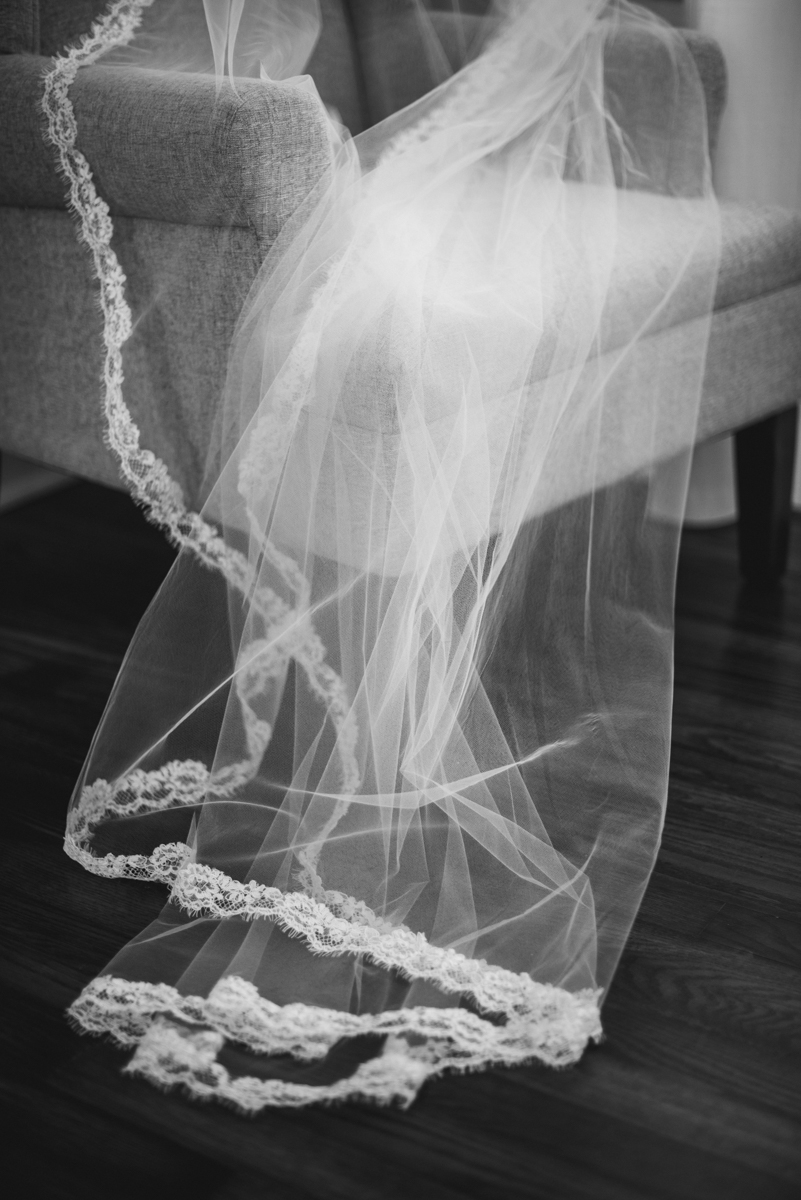 Navy, Wine, and Gold Charleston Wedding | Chapel Wedding Veil