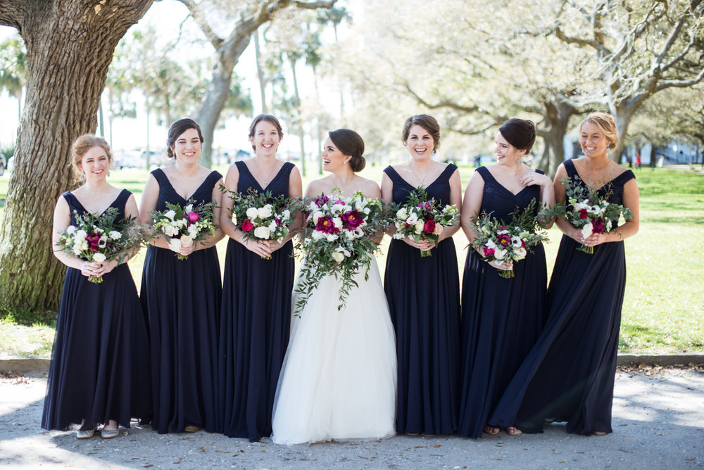 Navy, Wine, and Gold Charleston Wedding | Navy and Wine Bridesmaid Portraits