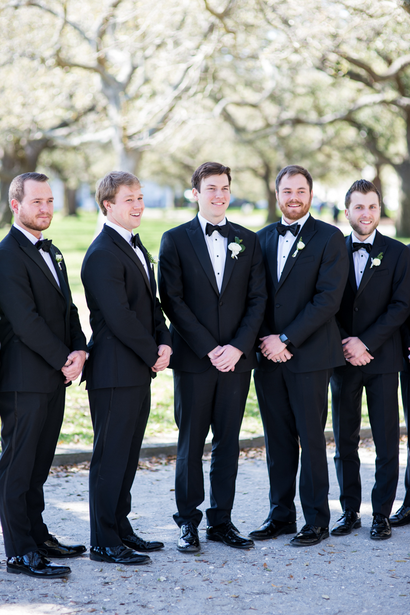 Navy, Wine, and Gold Charleston Wedding | Classic groomsmen in tuxes