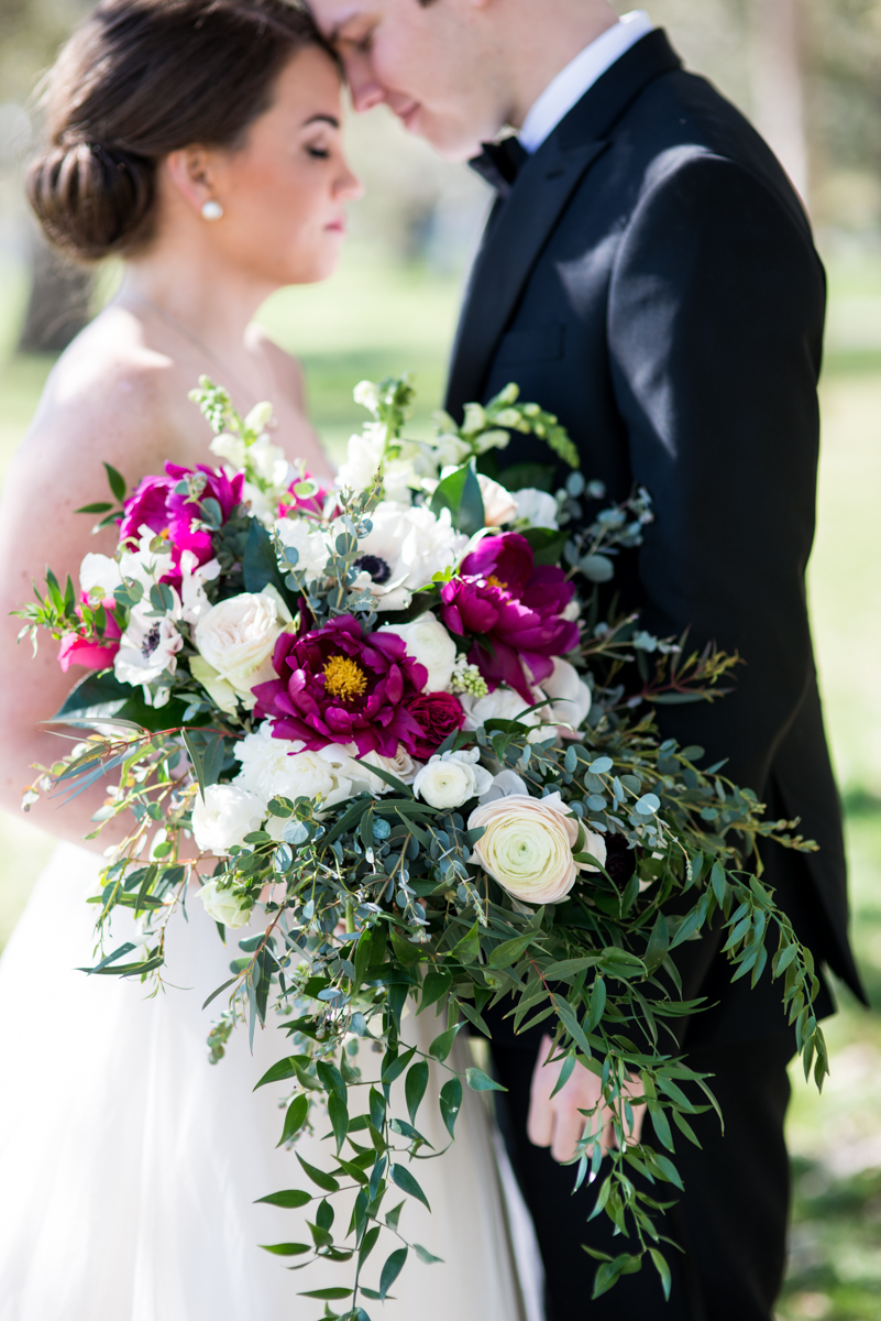 Navy, Wine, and Gold Charleston Wedding | Cascading Whine and White Bridal Bouquet