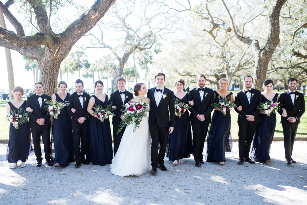 Navy, Wine, and Gold Charleston Wedding | Classic Navy Bridal Party