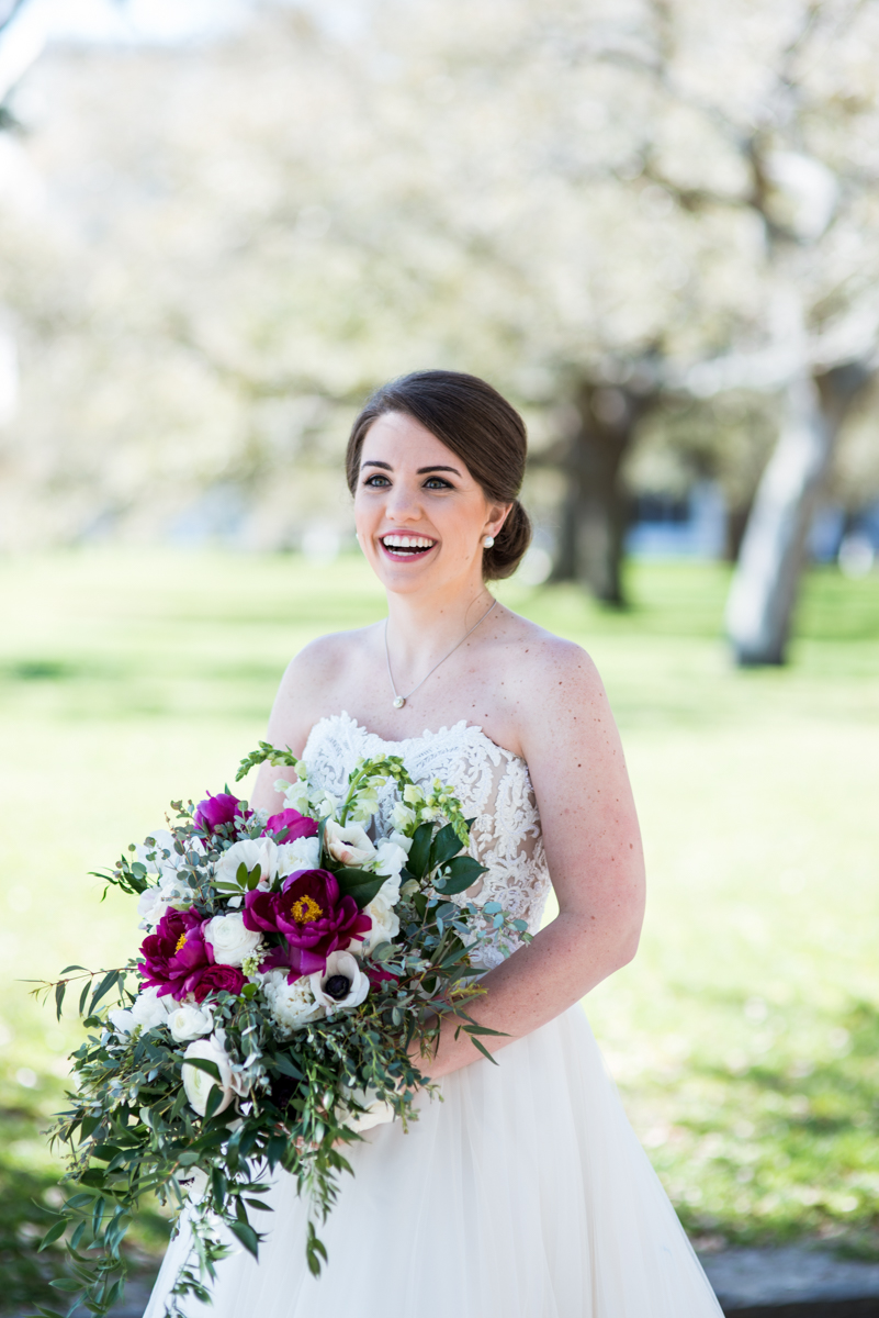 Navy, Wine, and Gold Charleston Wedding | Bridal Portrait