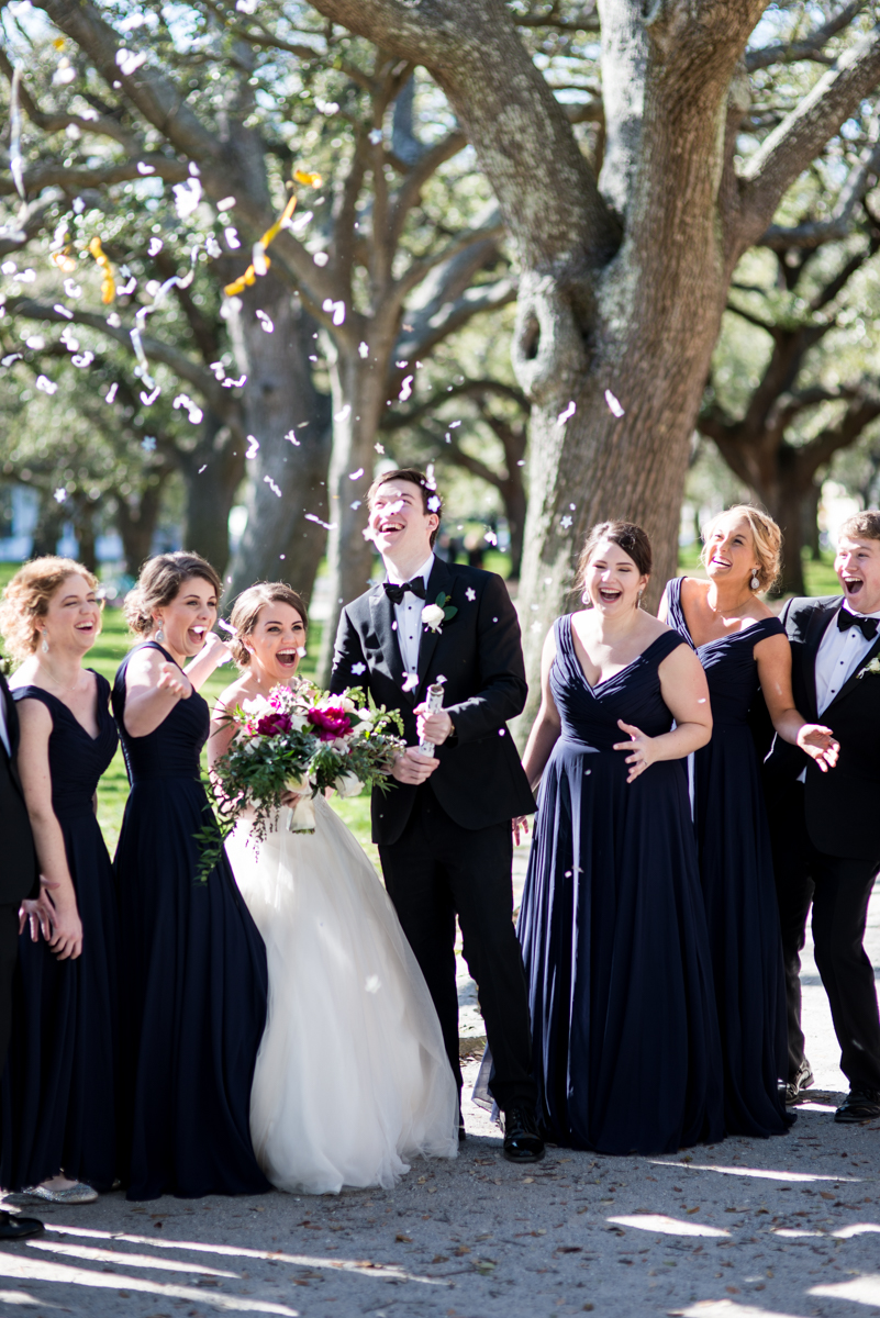 Navy, Wine, and Gold Charleston Wedding | Bridal Party Confetti Cannon