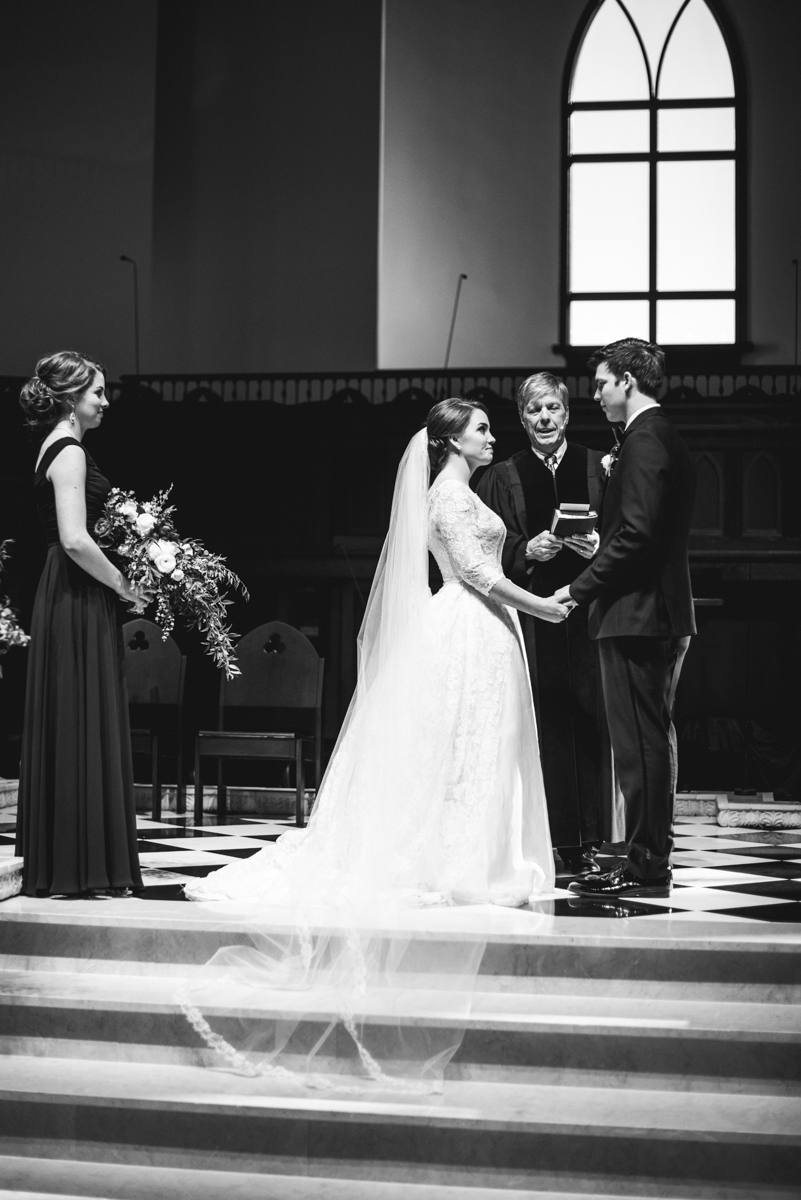 Navy, Wine, and Gold Charleston Wedding | Wedding ceremony in church
