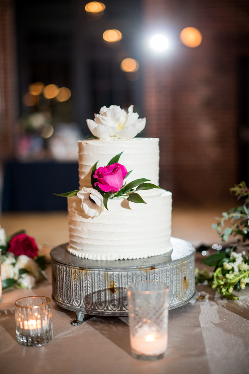 Navy, Wine, and Gold Charleston Wedding | White and Wine Wedding Cake