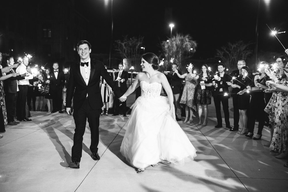 Navy, Wine, and Gold Charleston Wedding | Wedding Sparkler Exit