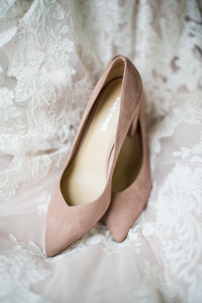 Burgundy + White Spring Wedding | Blush Wedding Shoes