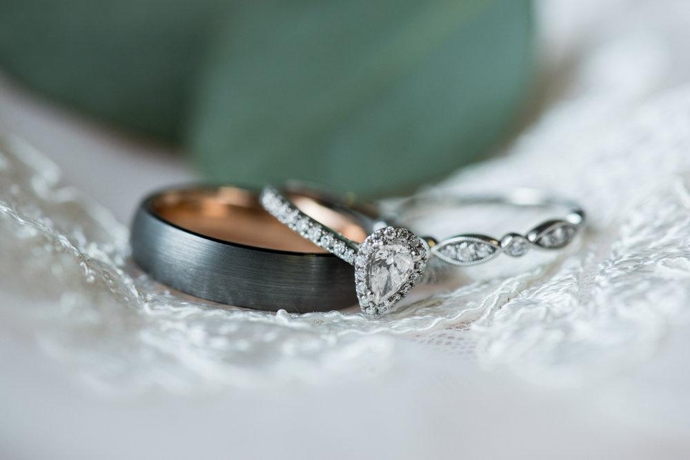 Burgundy + White Spring Wedding | Wedding Ring Shot with Eucalyptus