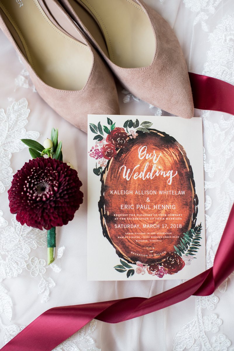 Burgundy + White Spring Wedding | Burgundy and Wood Wedding Invitations
