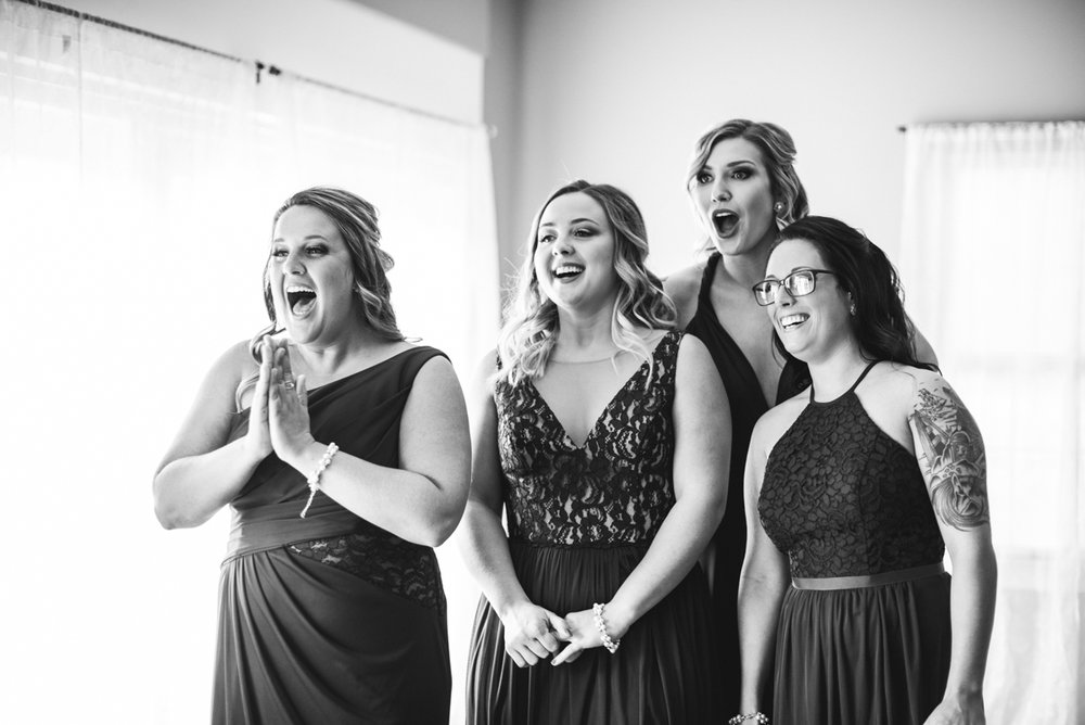 Burgundy + White Spring Wedding | First look with bridesmaids