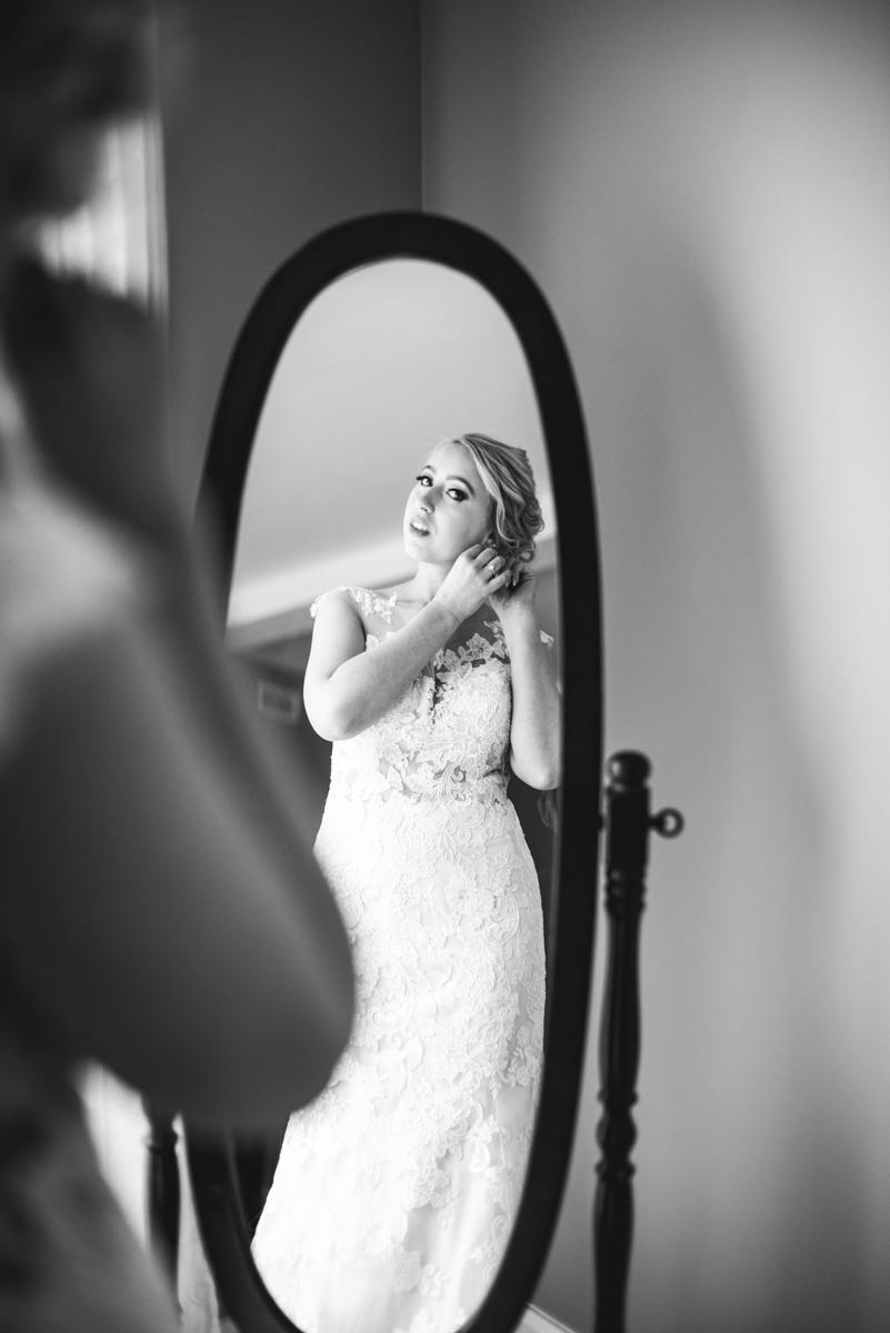 Burgundy + White Spring Wedding | Bride getting ready