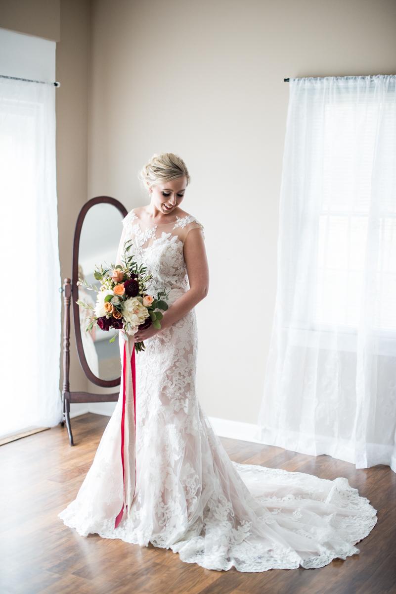 Burgundy + White Spring Wedding | Bridal portrait