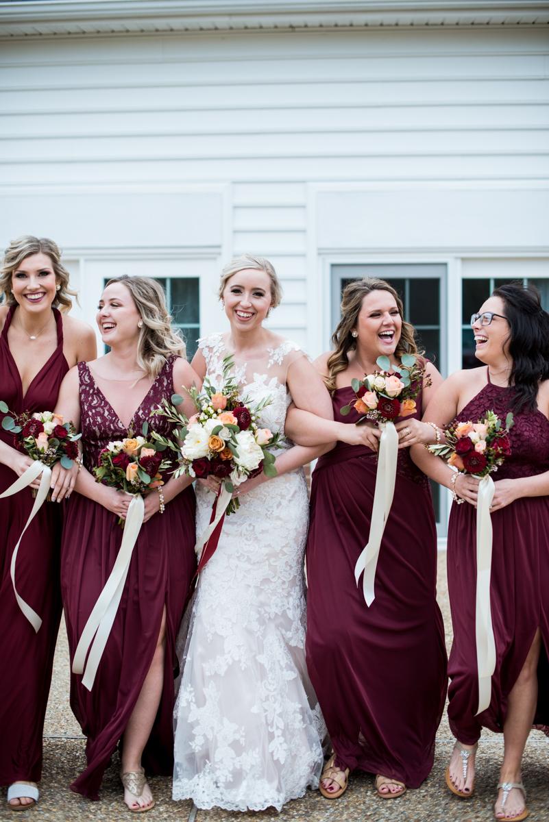 Burgundy + White Spring Wedding | Burgundy bridesmaids dresses