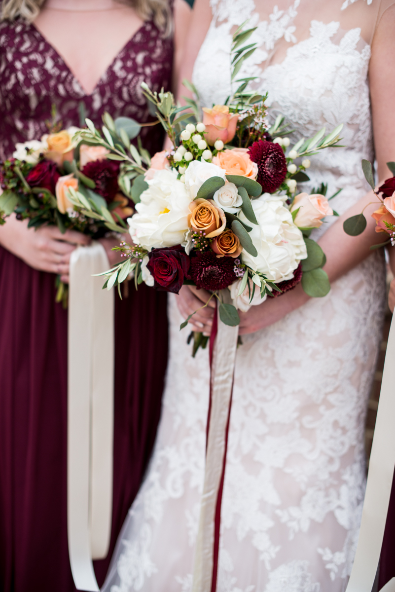 Burgundy + White Spring Wedding | Burgundy and White Bridal Bouquet with Ribbon