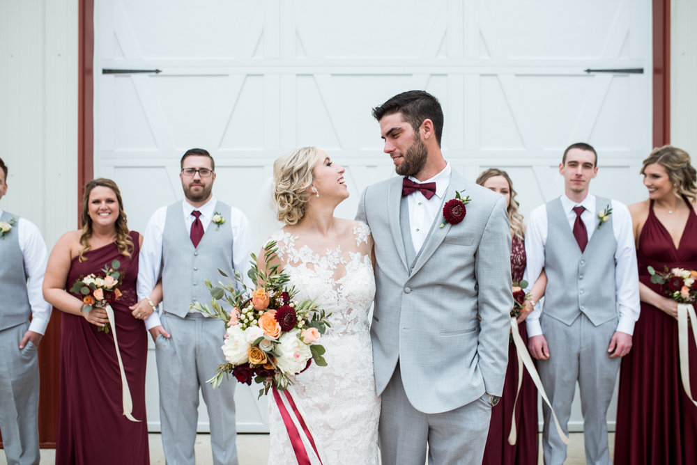 Burgundy + White Spring Wedding | Burgundy and gray bridal party