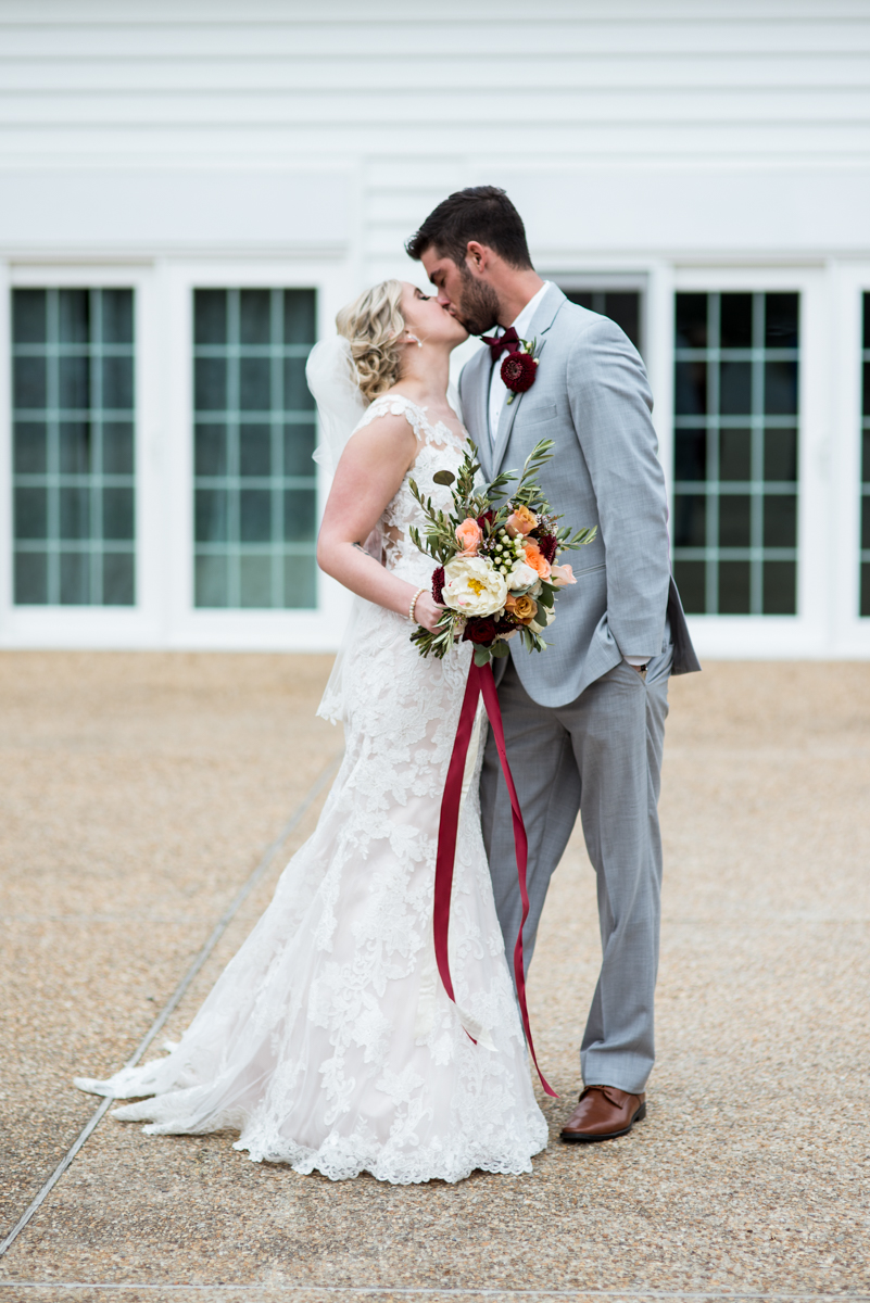 Burgundy + White Spring Wedding | Bride and groom portraits