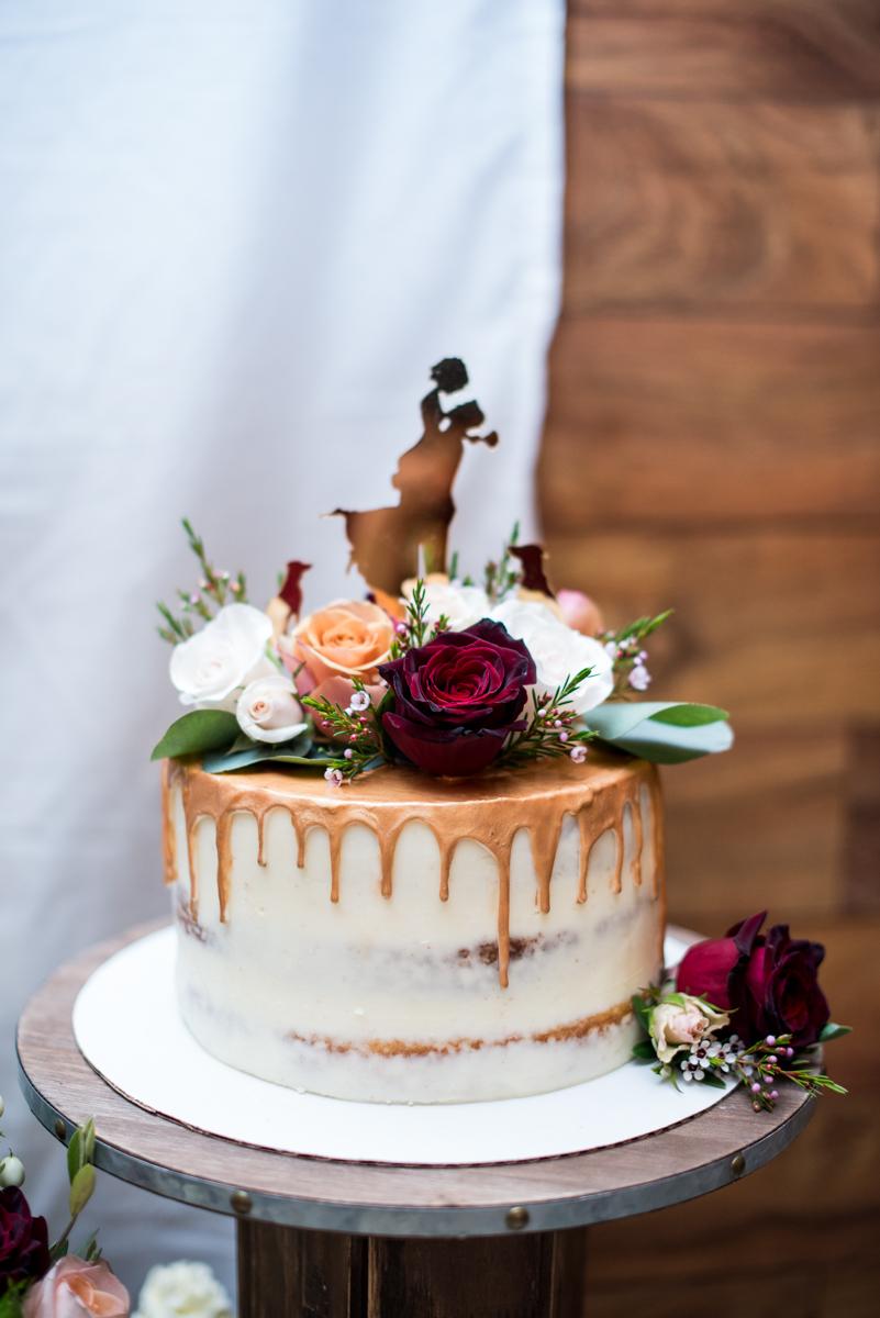 Burgundy + White Spring Wedding | burgundy, white, and gold wedding cake