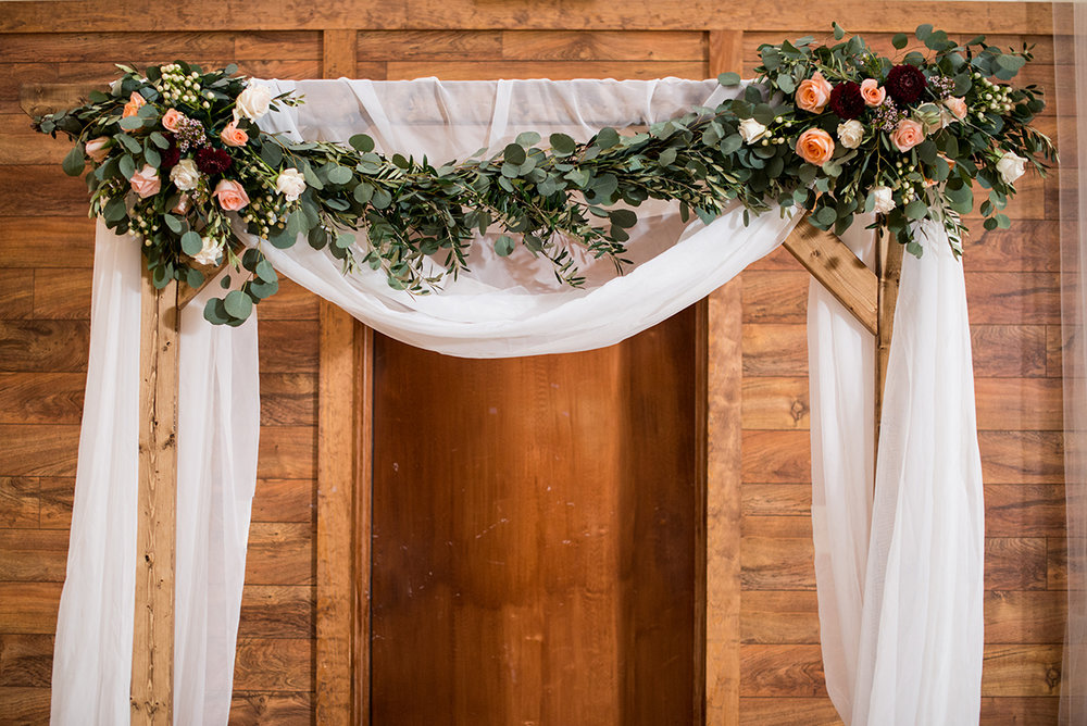 Burgundy + White Spring Wedding | Floral and White Wedding Arch