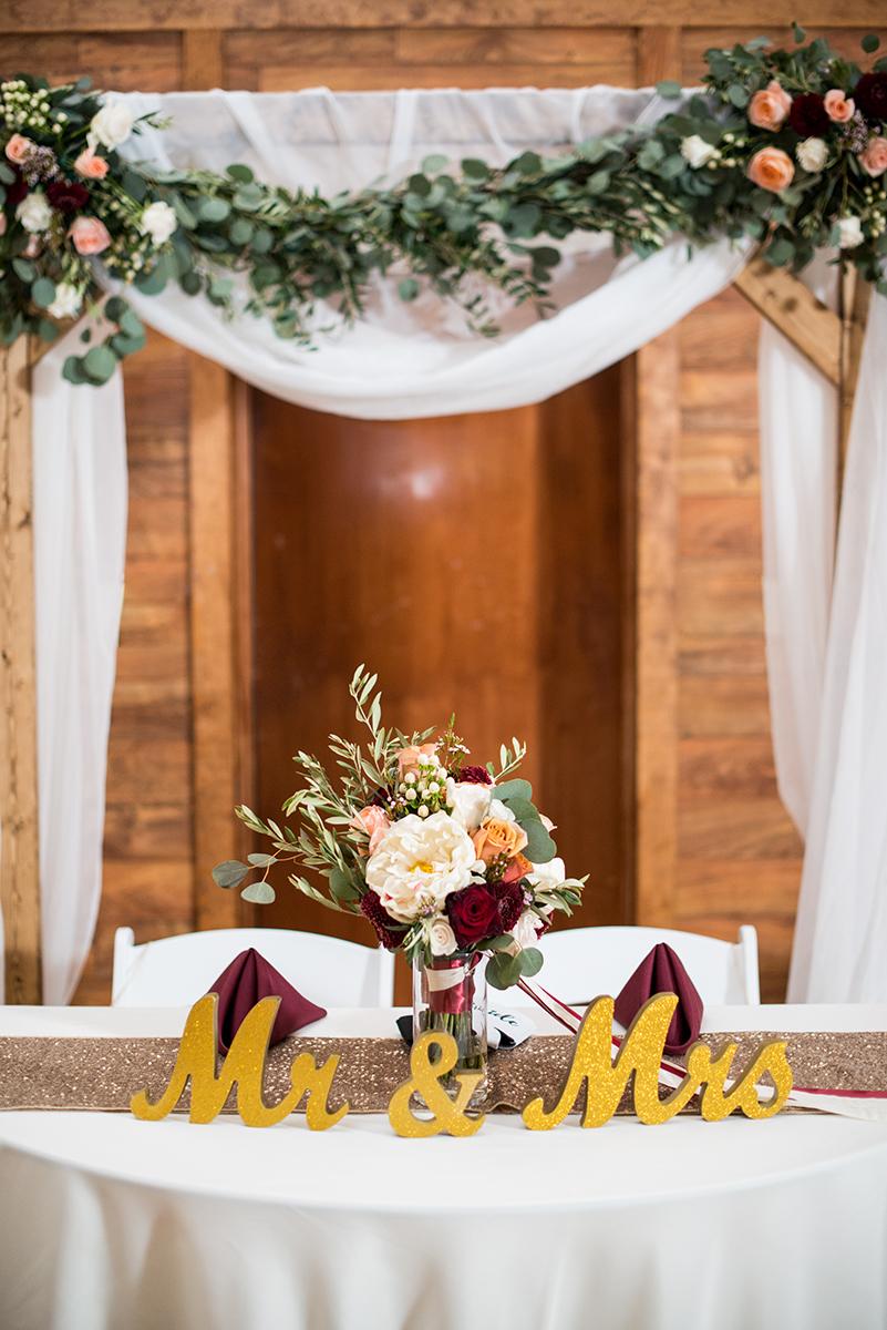 Burgundy + White Spring Wedding | Mr & Mrs wedding reception signs