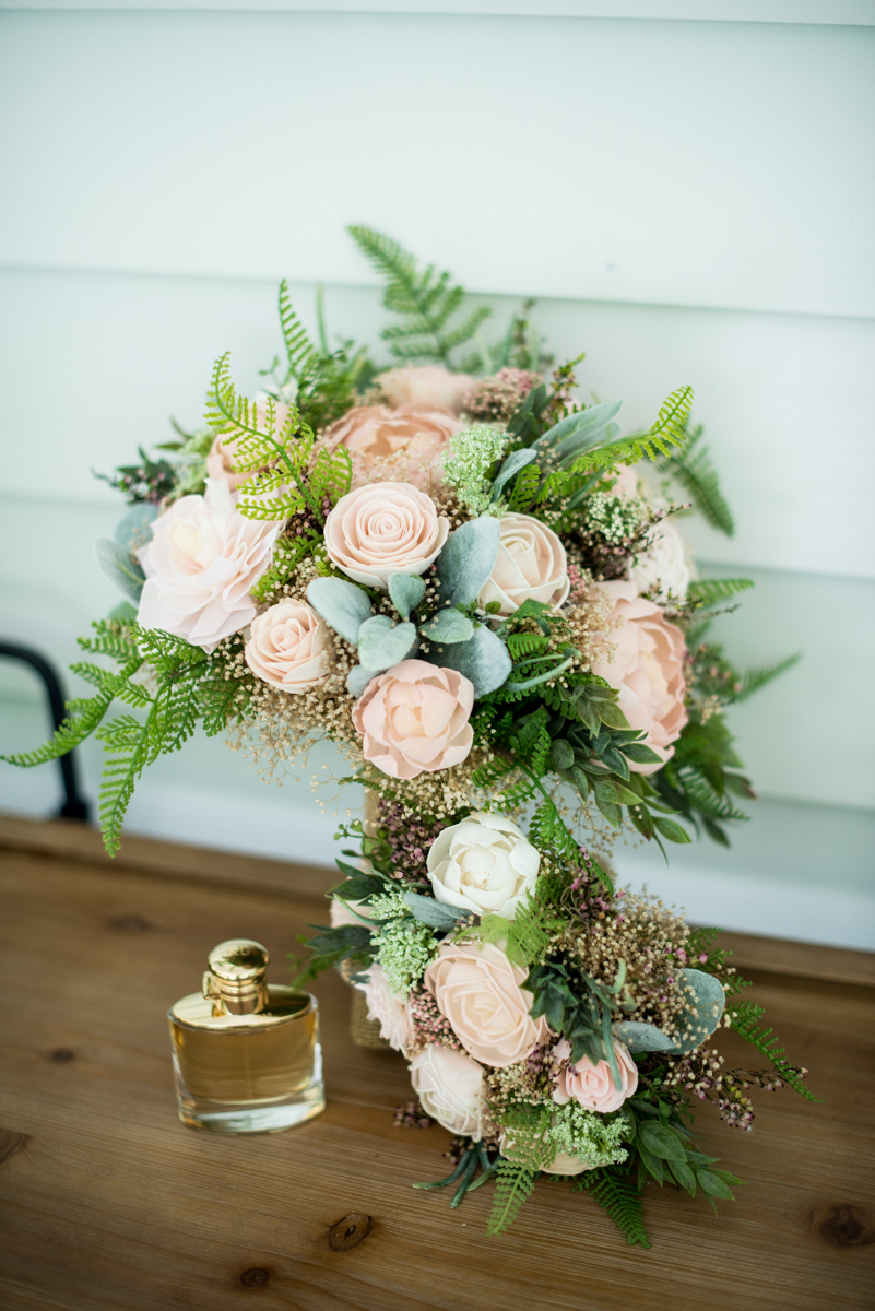 Elegant and Intimate Winery Wedding | Blush and white sola wood flower bouquet
