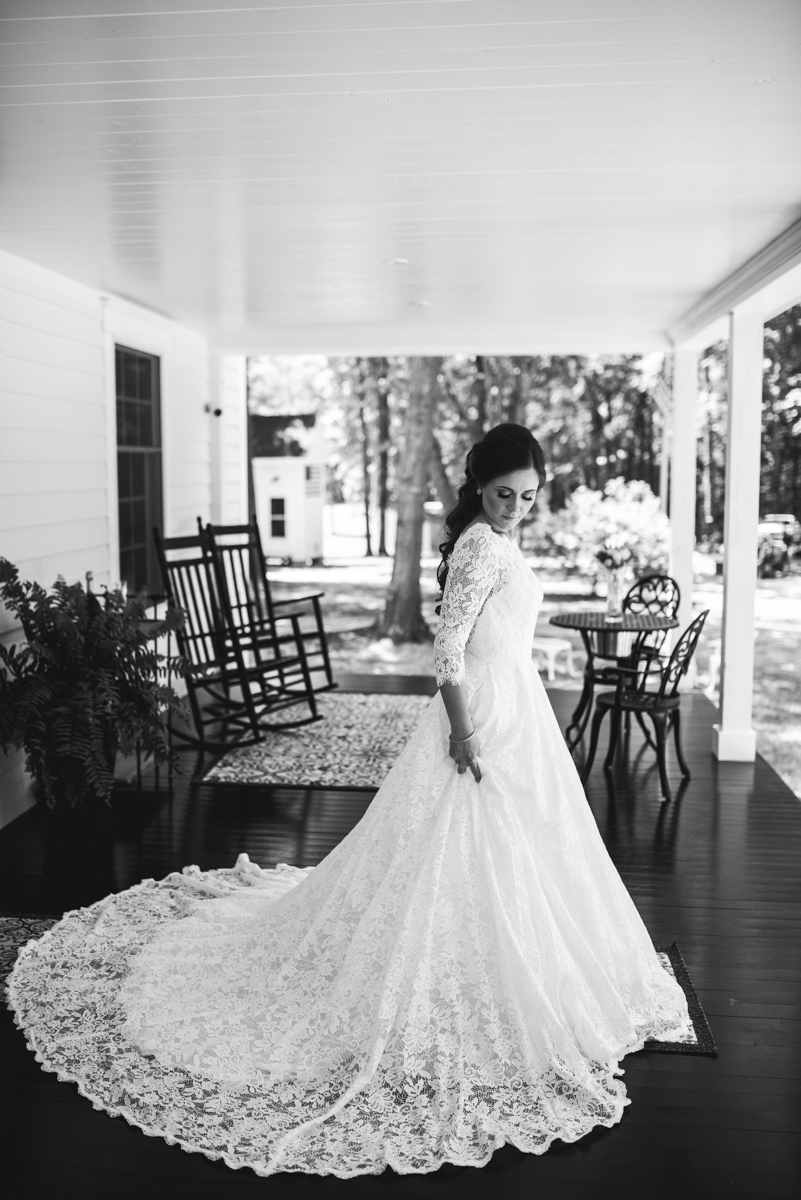 Elegant and Intimate Winery Wedding | Bride in all-over lace wedding dress