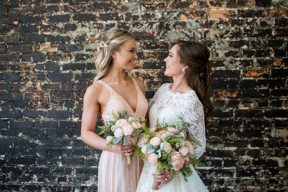 Elegant and Intimate Winery Wedding | Glitter blush bridesmaid dress