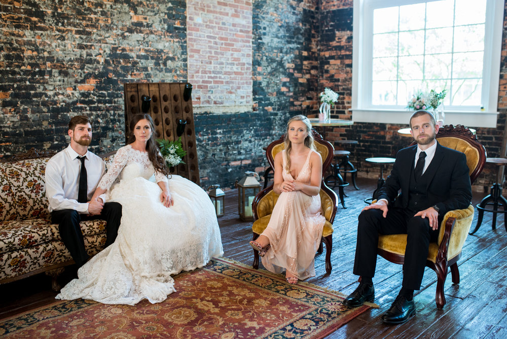 Elegant and Intimate Winery Wedding | Bridal party portrait with vintage rentals