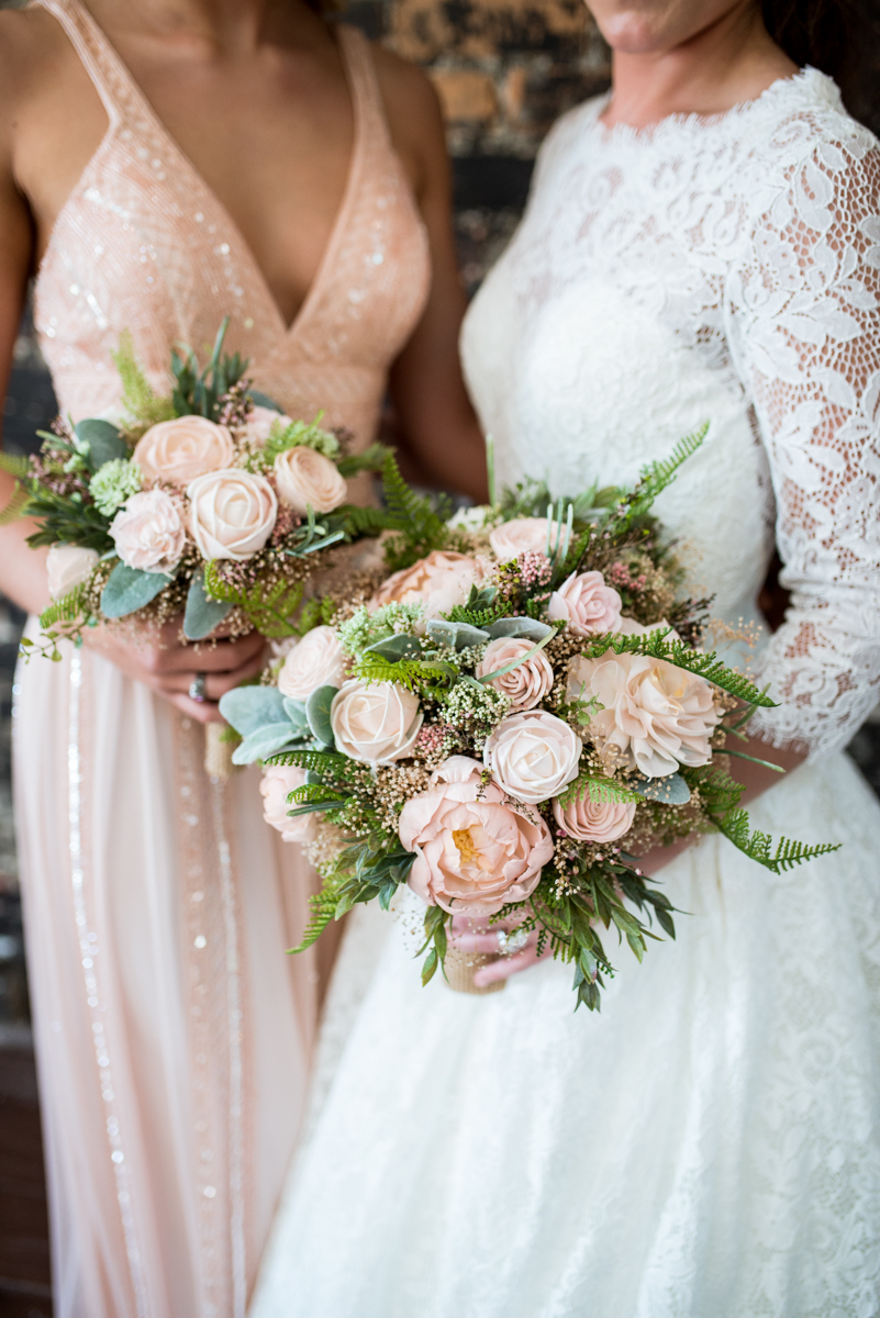 Elegant and Intimate Winery Wedding | Blush and white sola wood flower bouquets