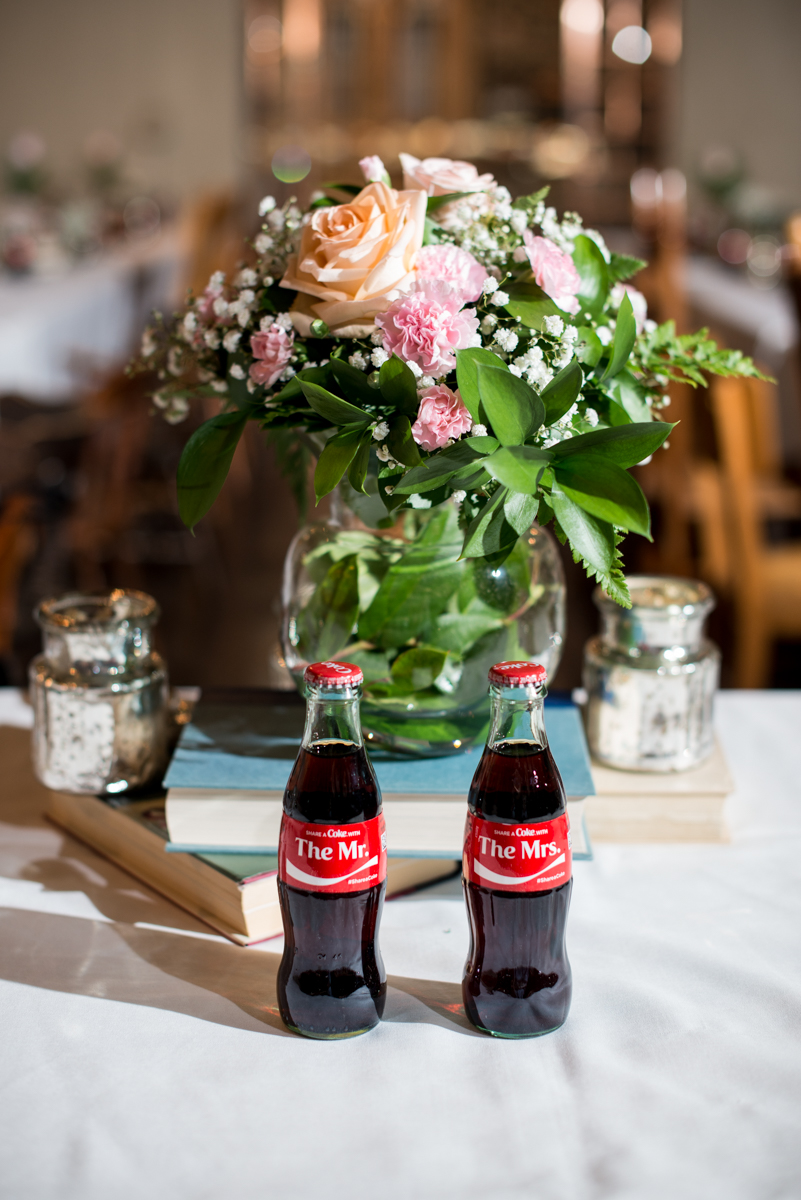 Elegant and Intimate Winery Wedding | Custom Coke bottle name cards