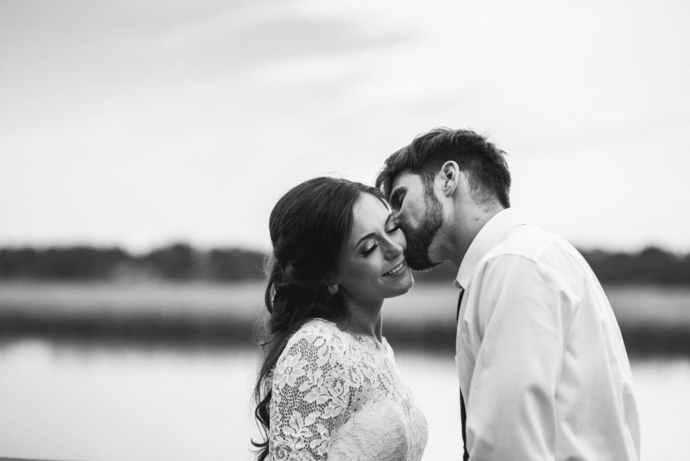 Elegant and Intimate Winery Wedding | Bride and groom sunset portraits