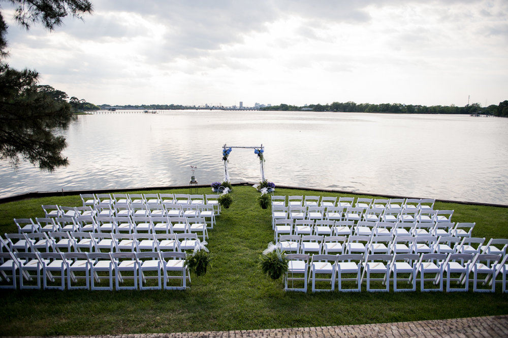 Intimate Backyard Summer Wedding on the Water | Ceremony on the water