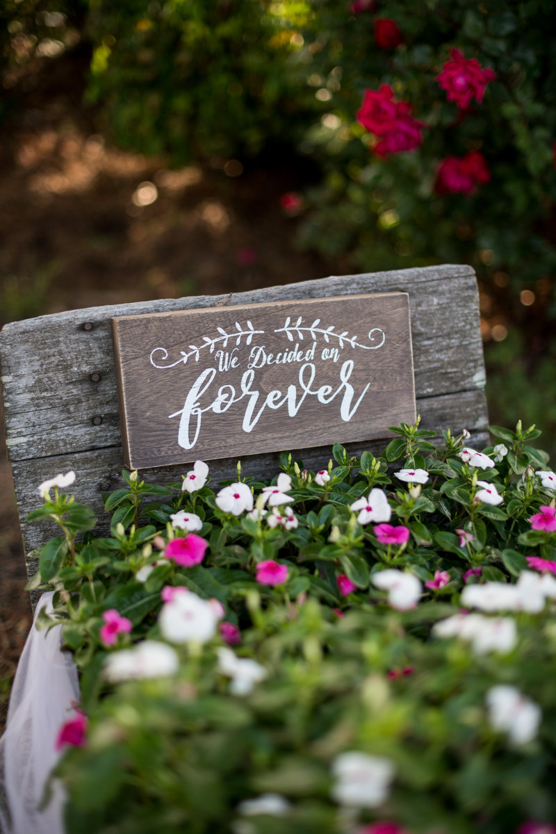 Intimate Backyard Summer Wedding on the Water | We Decided on Forever Sign