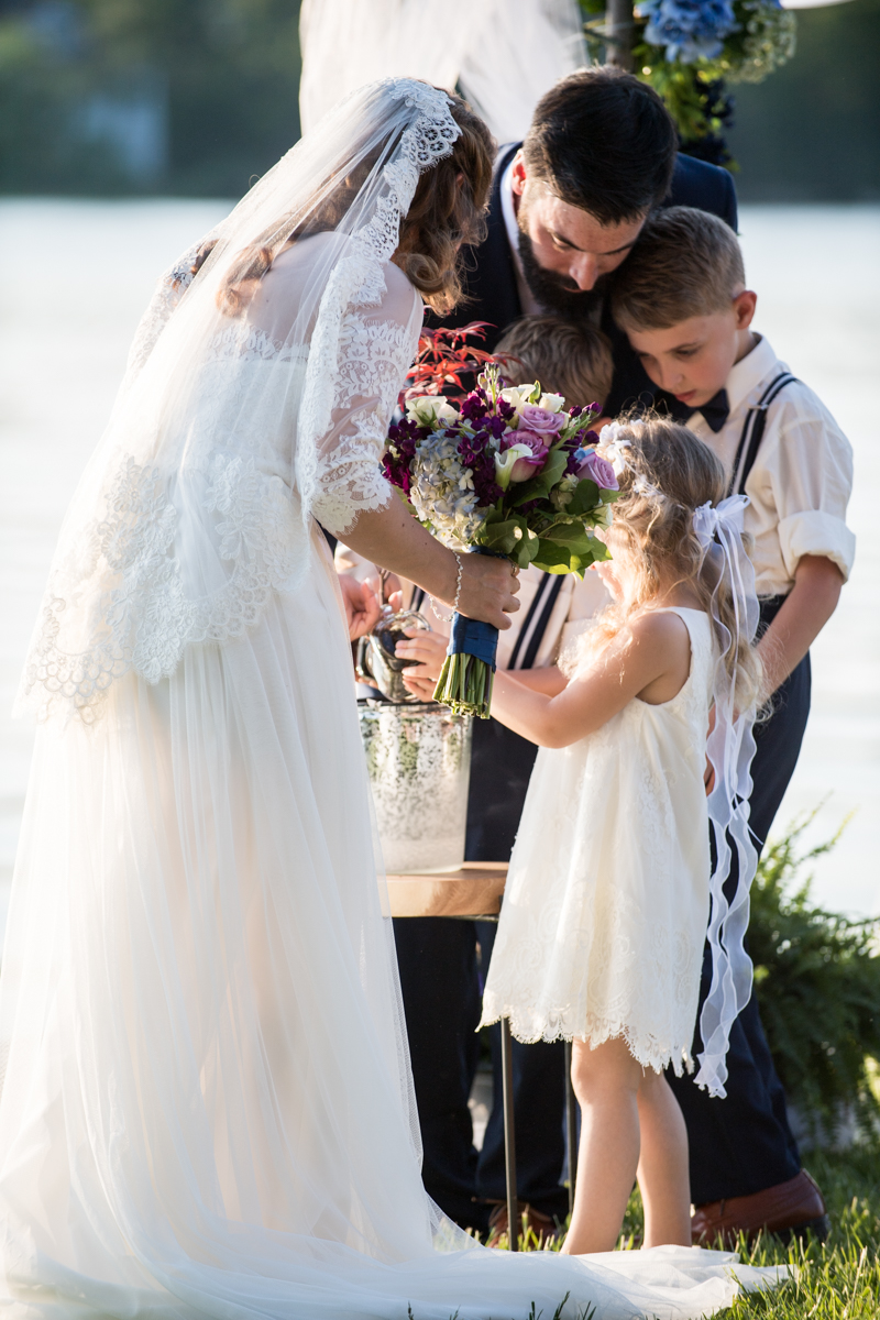 Intimate Backyard Summer Wedding on the Water | Family planting family tree