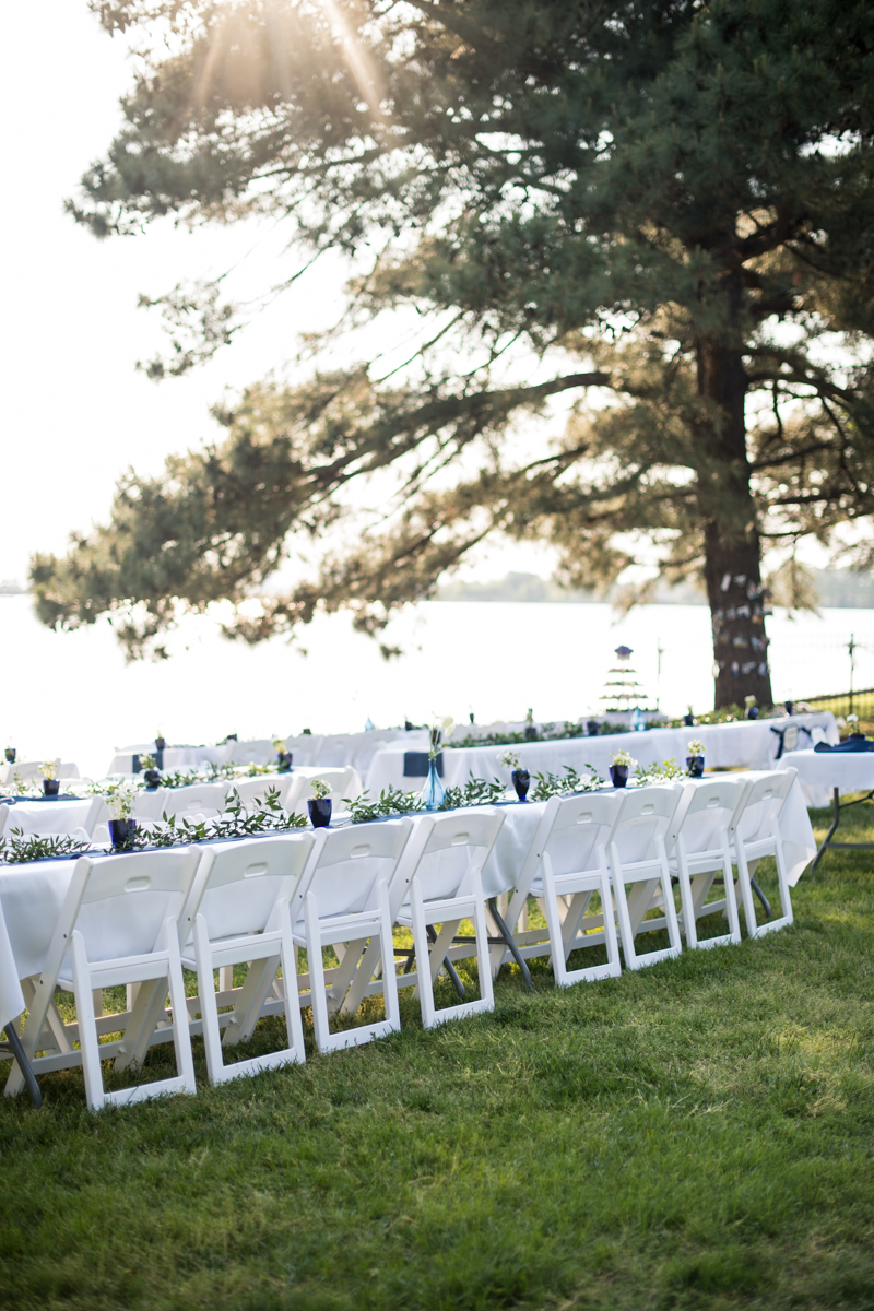 Intimate Backyard Summer Wedding on the Water | Outdoor weddign reception