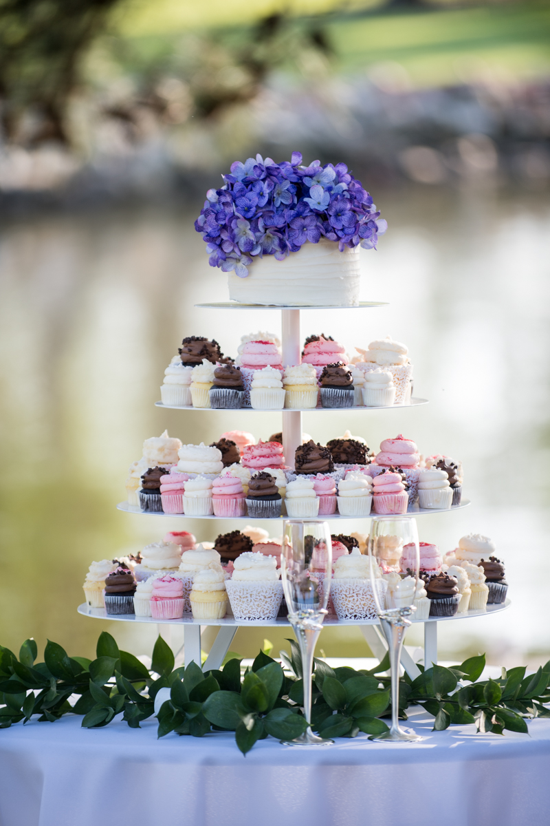 Intimate Backyard Summer Wedding on the Water | Wedding cupcakes